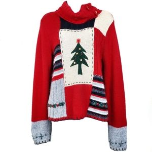 CRAZY HORSE Red Christmas Tree Cowl Neck Sweater